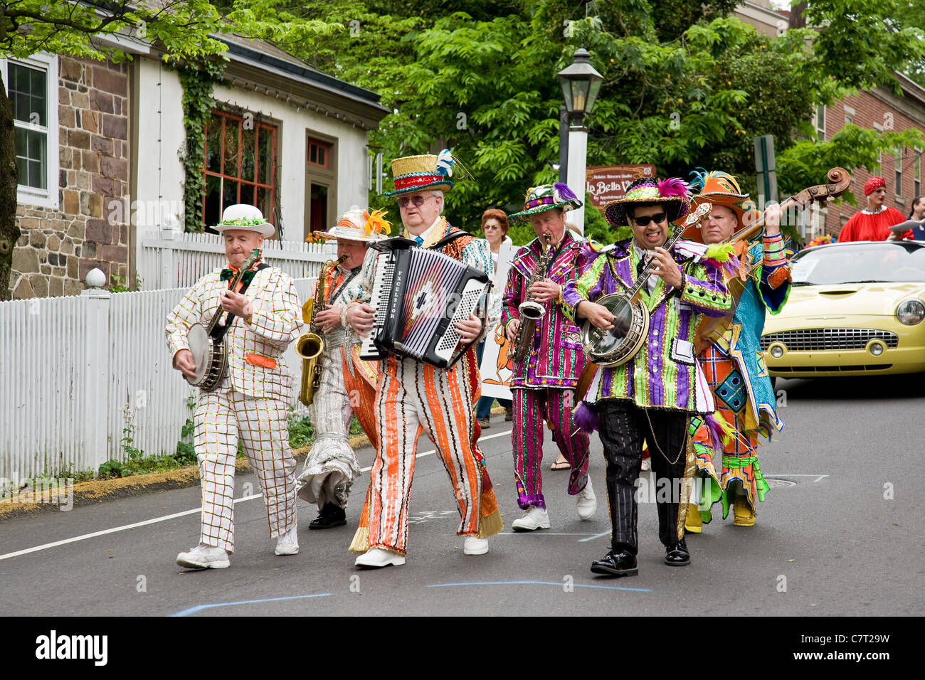 Mummers performing at the New Hope Celebrates Day - Stock Image
