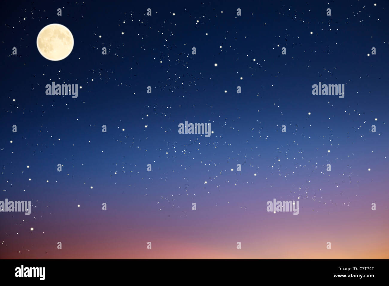 Night sky with moon and stars. Stock Photo