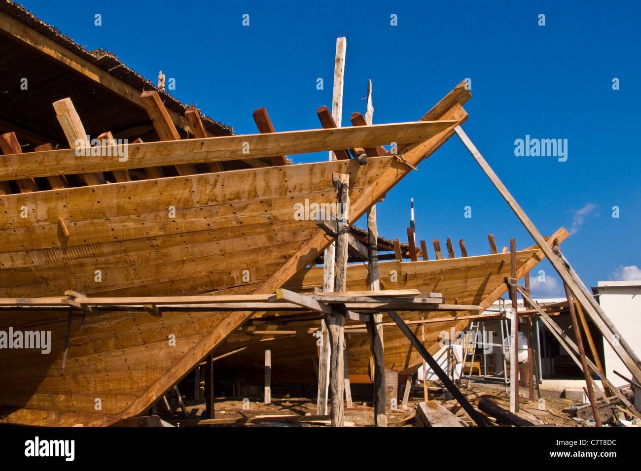 Oman, Sur, dhow shipyard - Stock Image