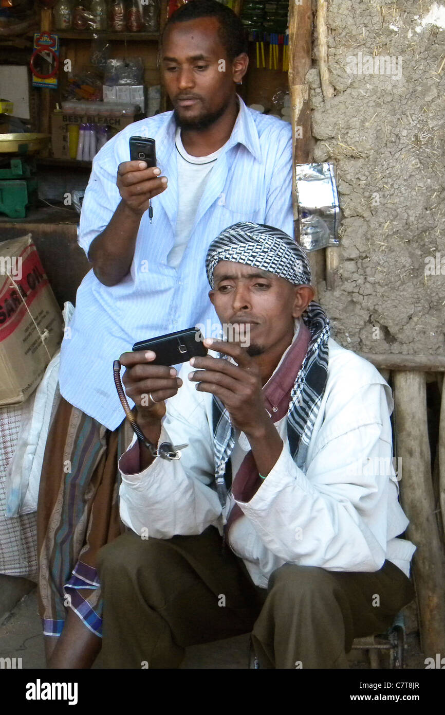 Africa, Ethiopia, men with cell phone - Stock Image