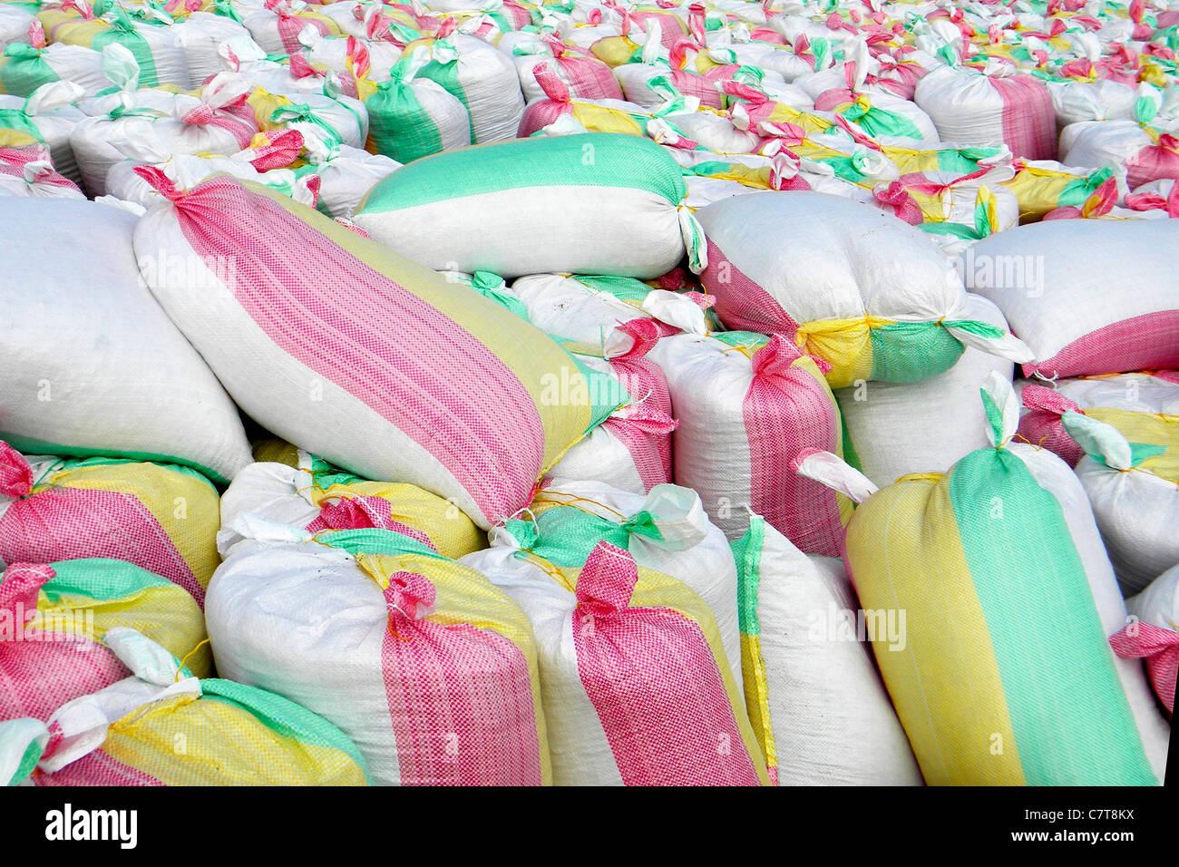 Stacked sacks - Stock Image