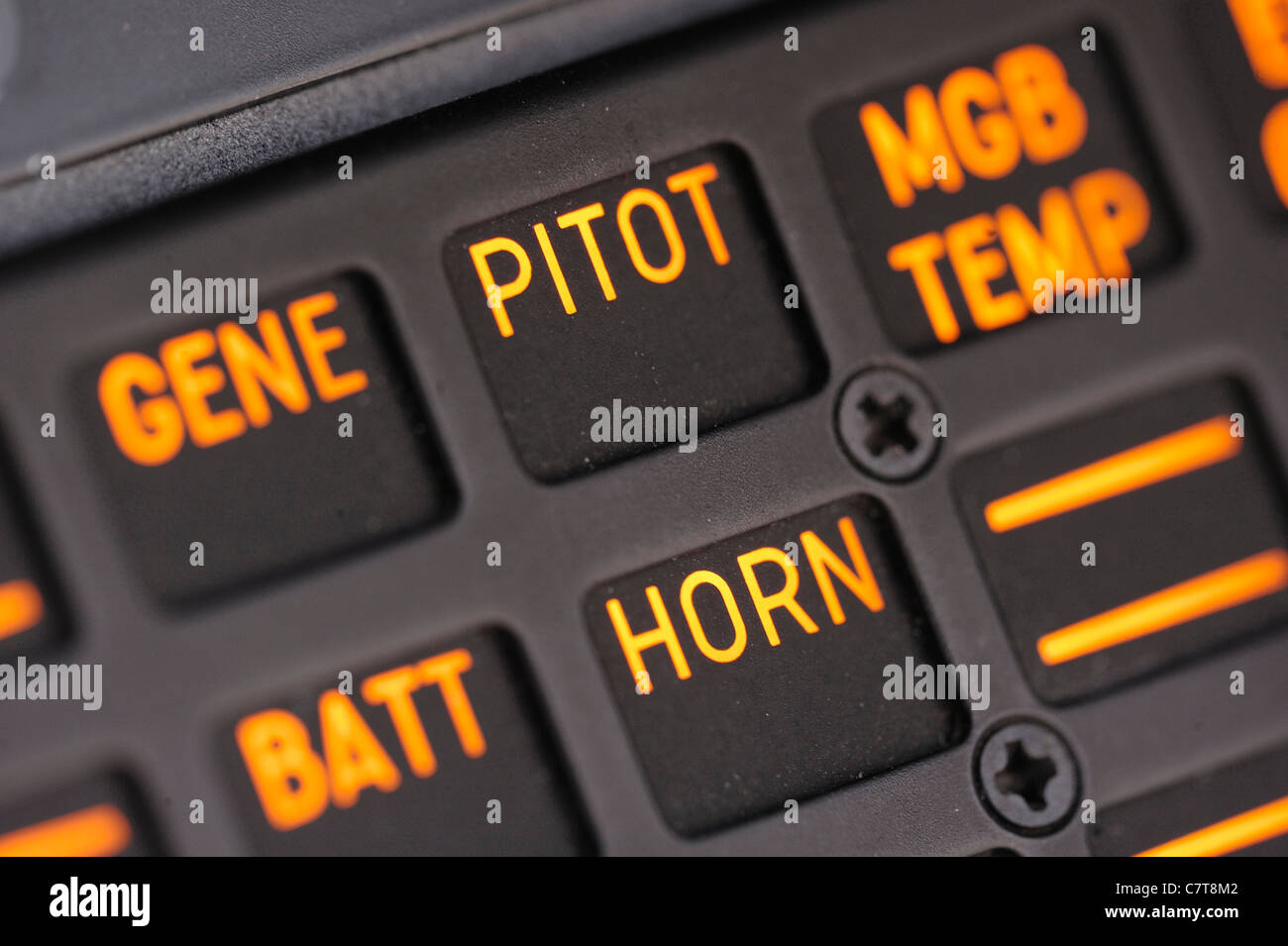 cockpit alarms on helicopter - Stock Image