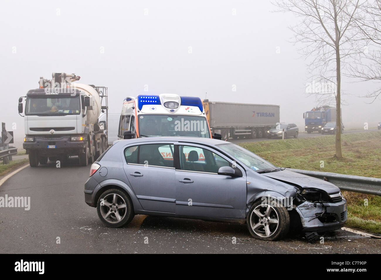 Italy, Traffic accident Stock Photo