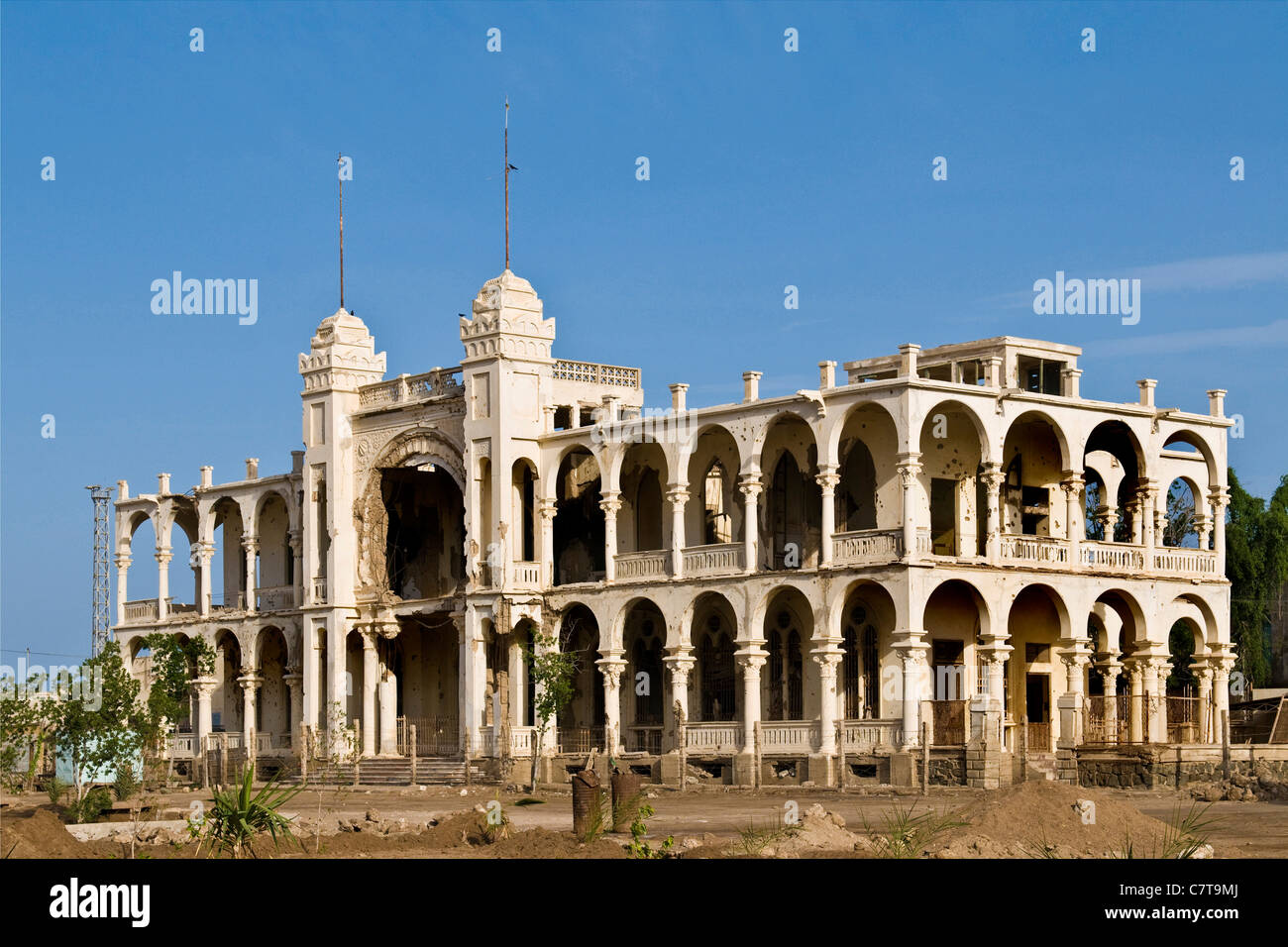 Africa, Eritrea, Massawa, the Italian bank building - Stock Image