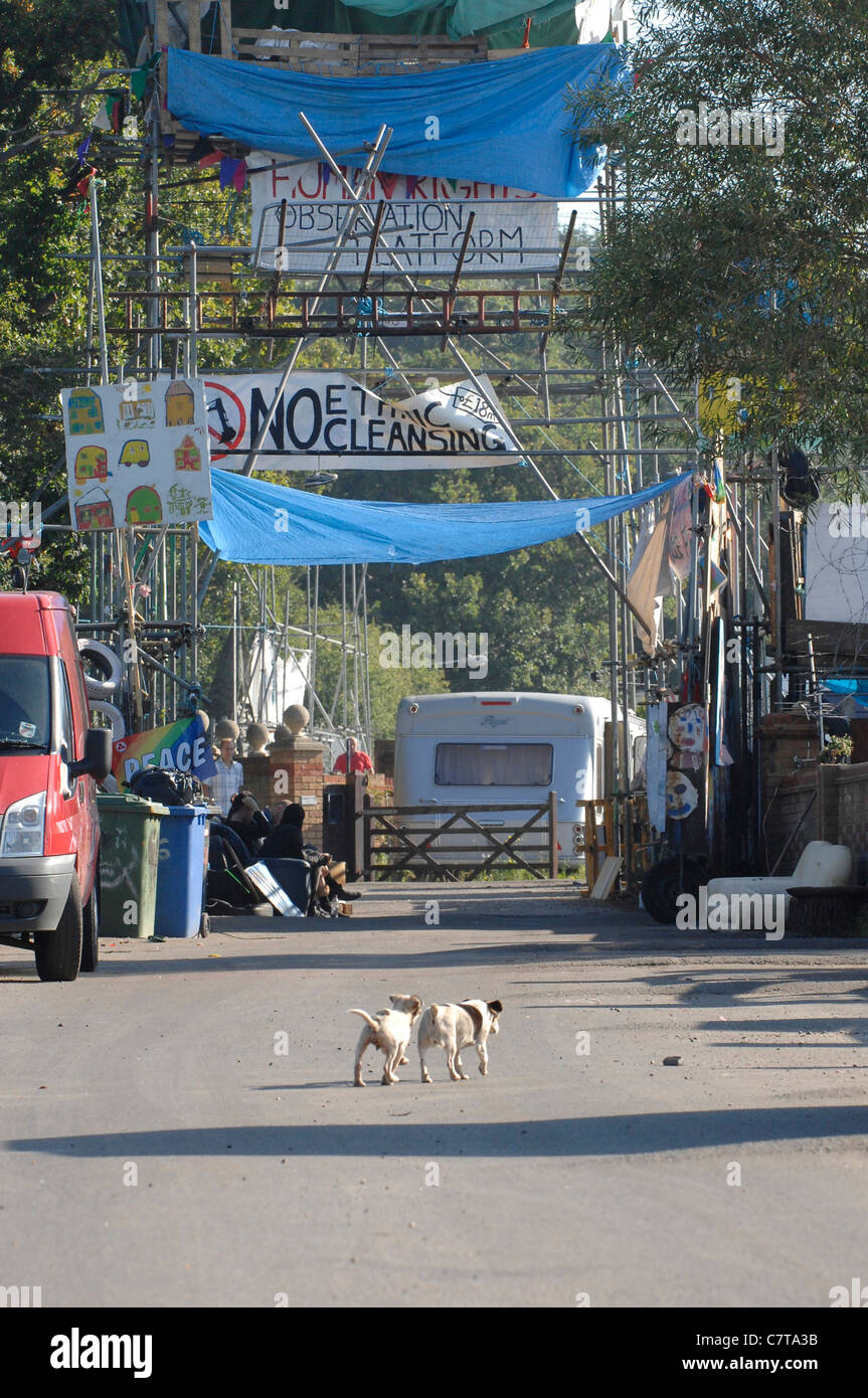 All's quiet main gate of the traveller site Dale Farm Essex UK, as residents await the outcome of a High Court - Stock Image