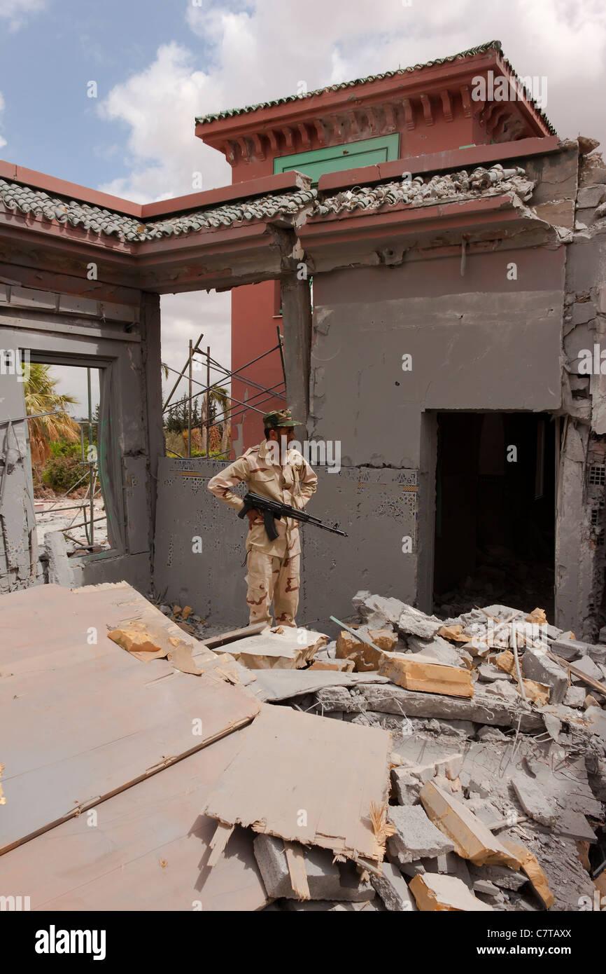 Tripoli Libya Saif al-Islam Gaddafi Qaddafi bombed house - Stock Image