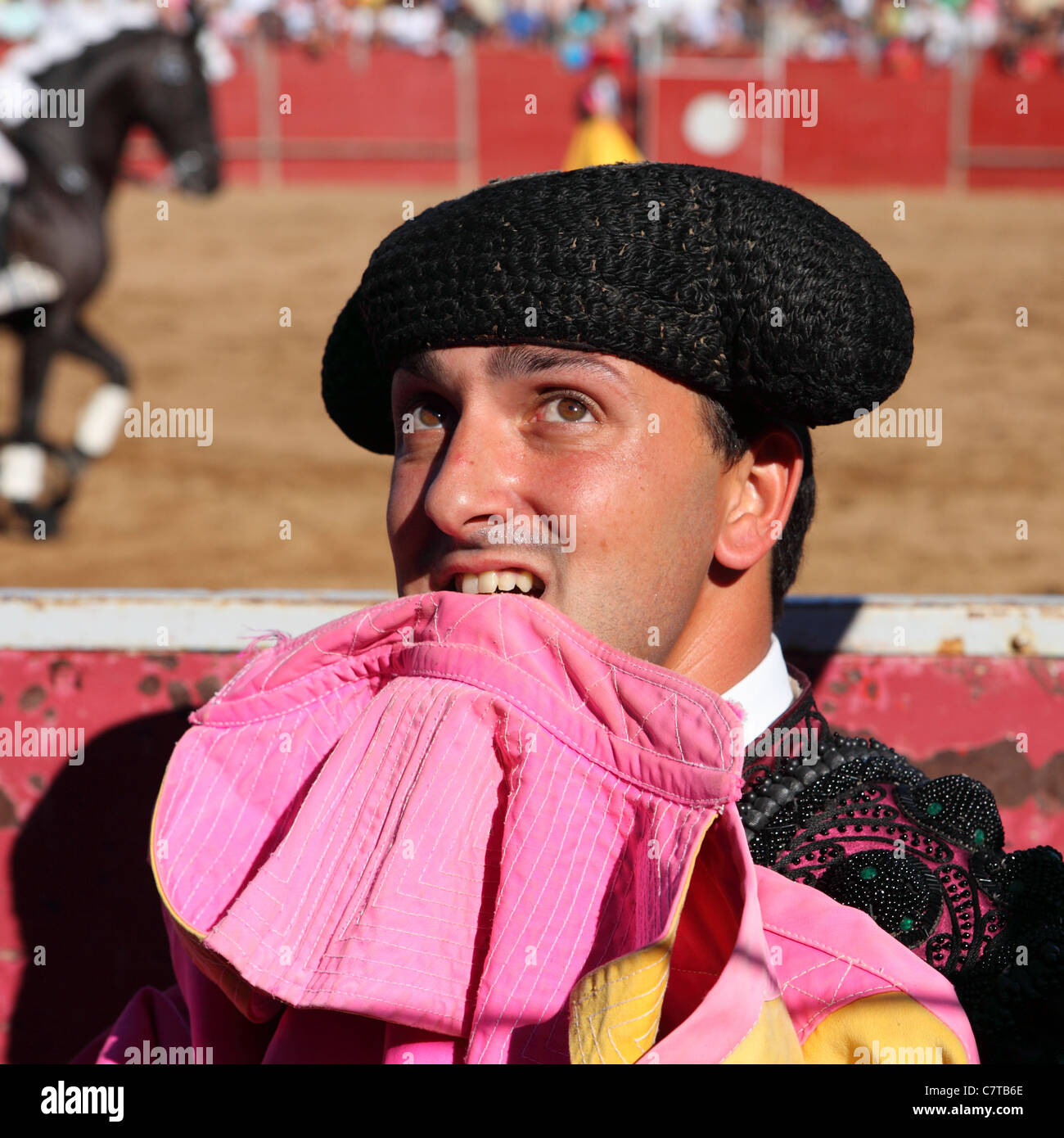 The bullfighter (Bandarilheiro) Jose Russiano prepares for action at a  bullfight. - Stock af4b201e6ce