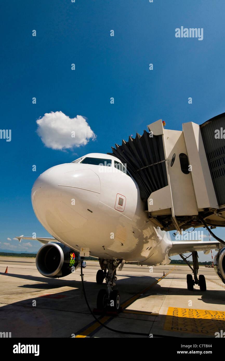 Jetliner on apron - Stock Image