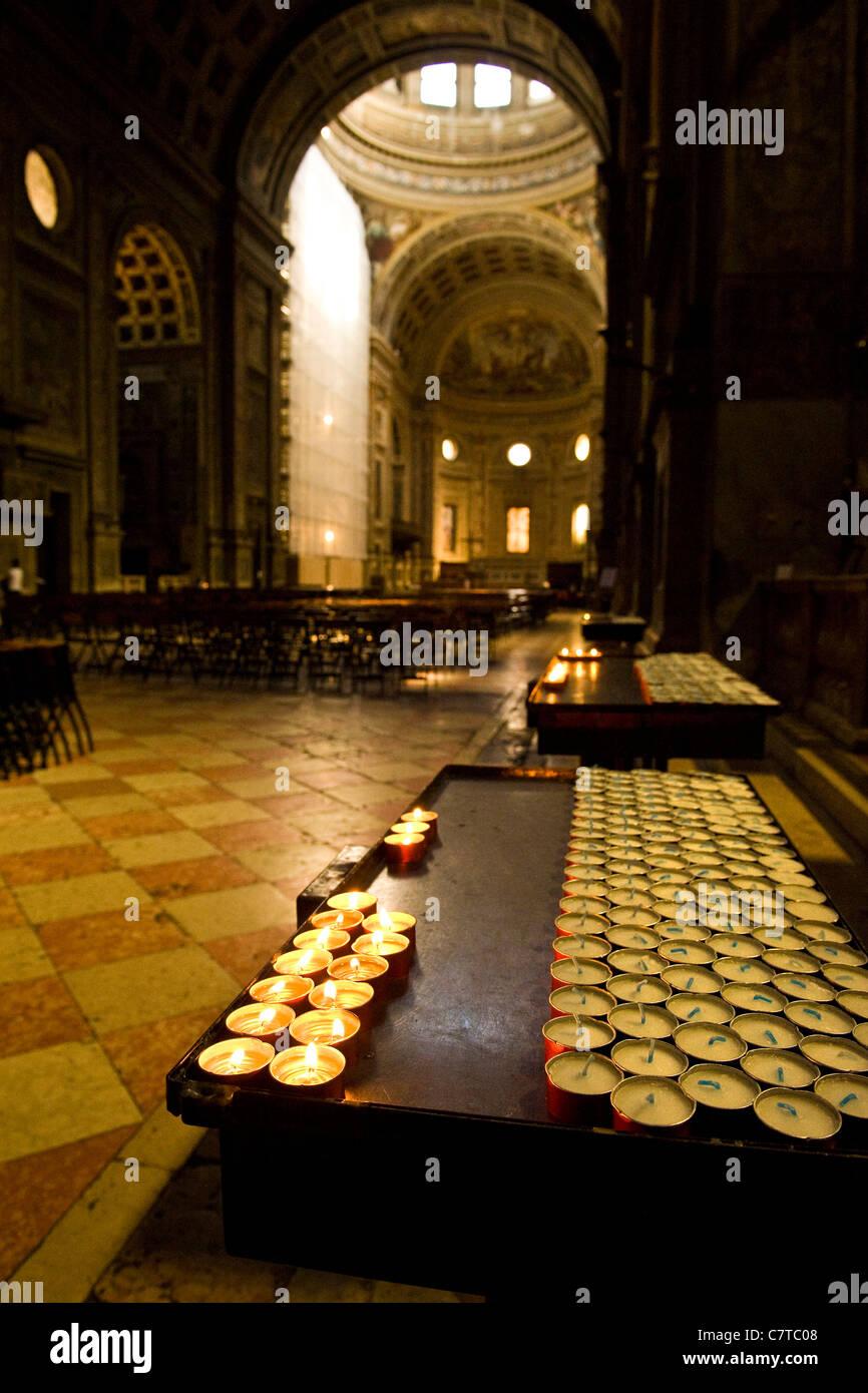 Italy, Lombardy, Mantua, interiors of Sant'Andrea church - Stock Image
