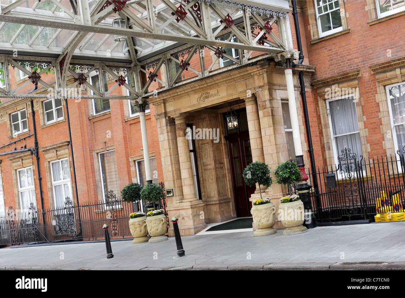 The rear and often used Melcombe Place entrance to the Landmark Hotel in Marylebone. Stock Photo