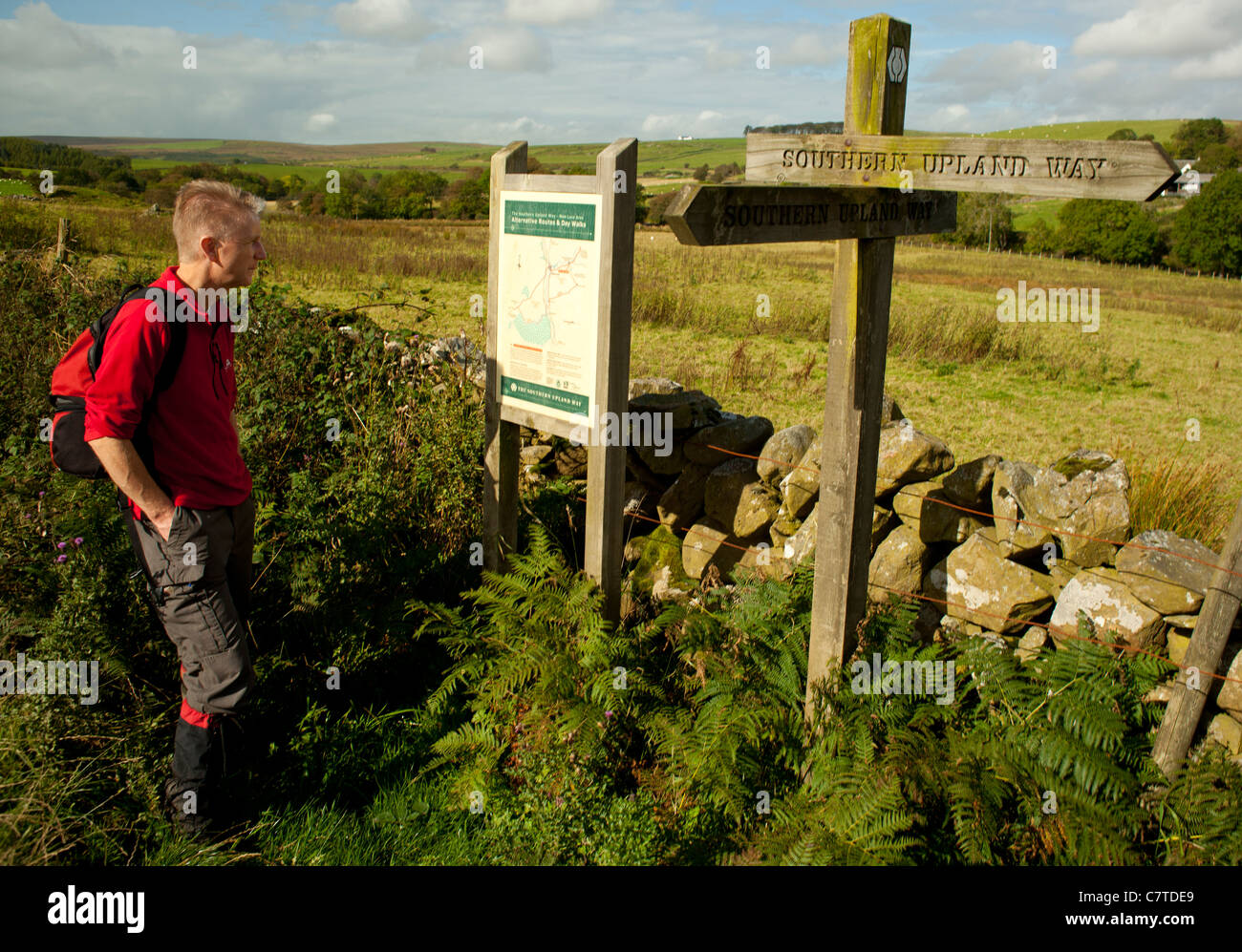 Walker walking on the Southern Upland Way near Loups of Barnshangan New Luce studying information board and direction - Stock Image