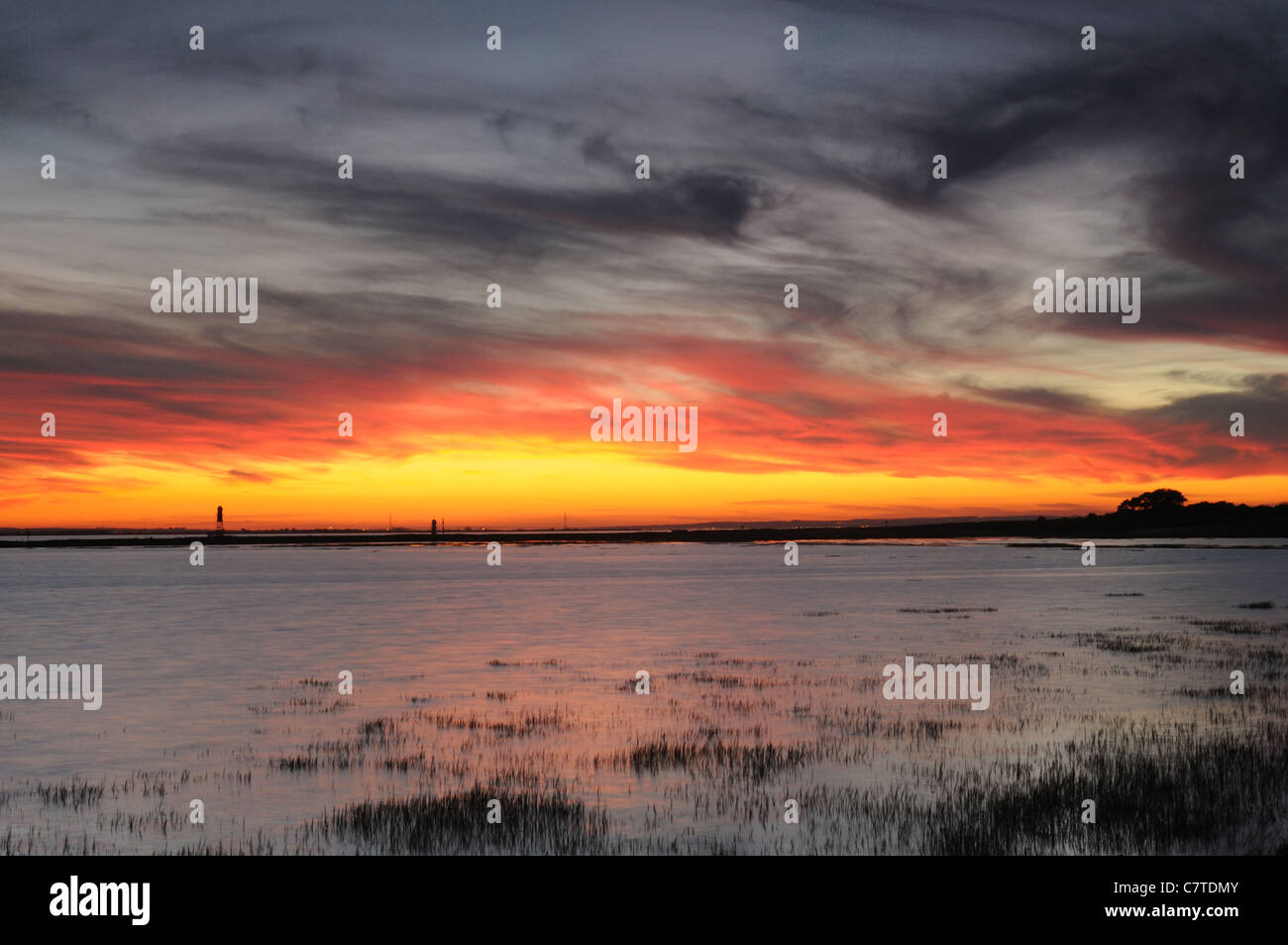 Sunset at Paull Holme Strays nature reserve, East Yorkshire, England Stock Photo