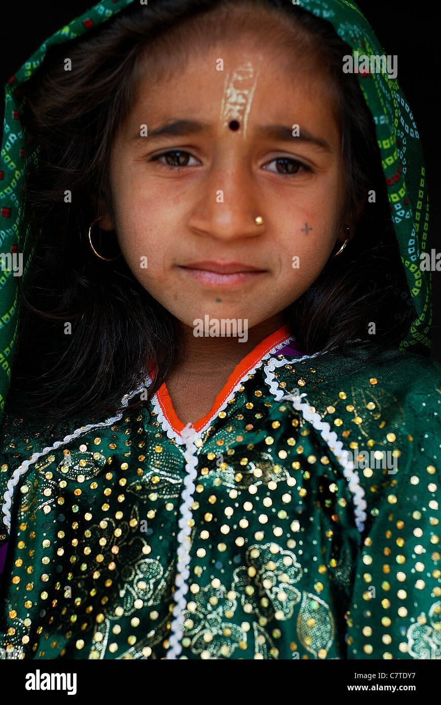 Portrait of a girl belonging to the Ahir caste ( India) - Stock Image