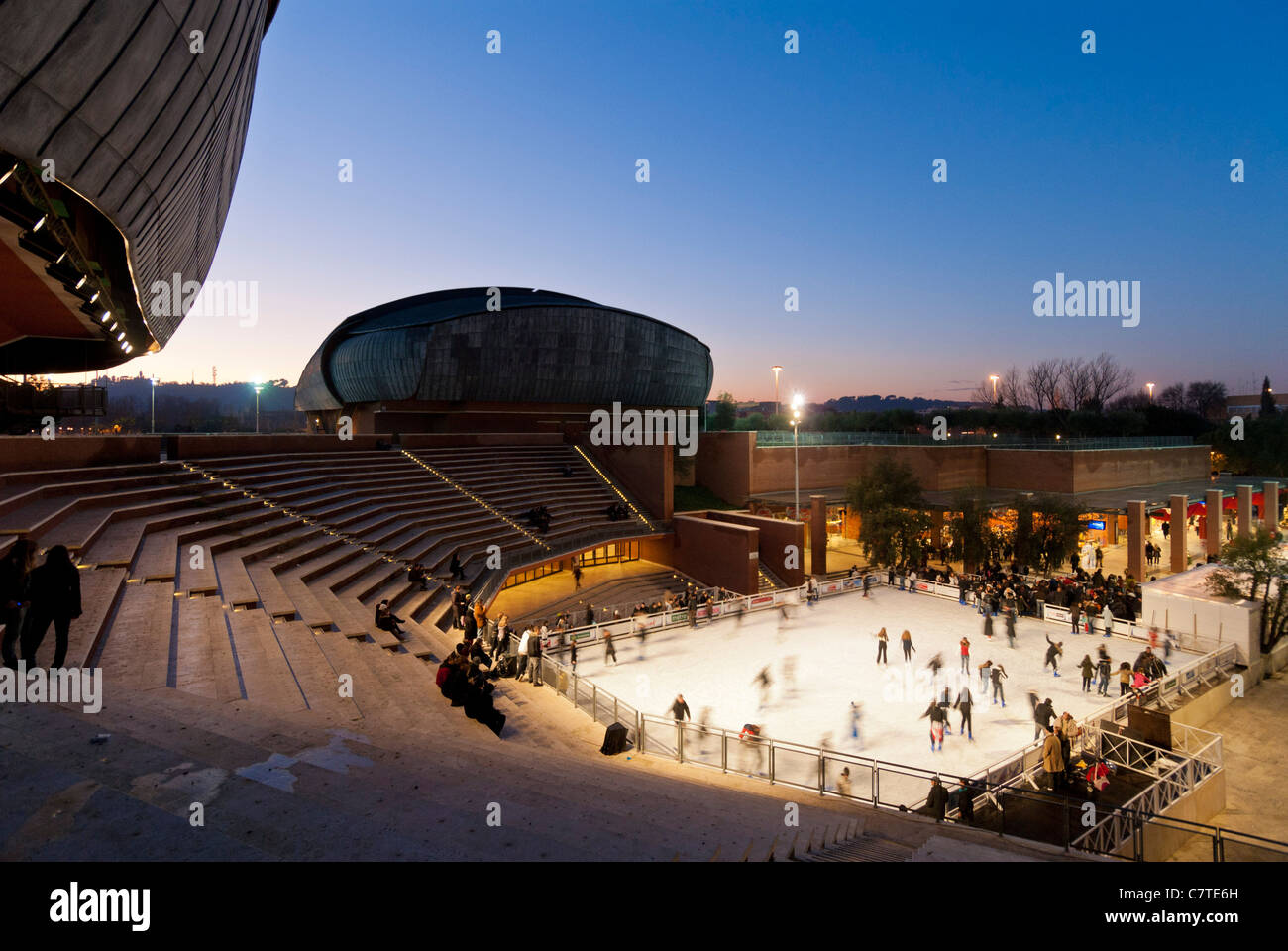 Rome. Italy. Ice skating at the Auditorium designed by Renzo Piano (Parco della Musica). Stock Photo