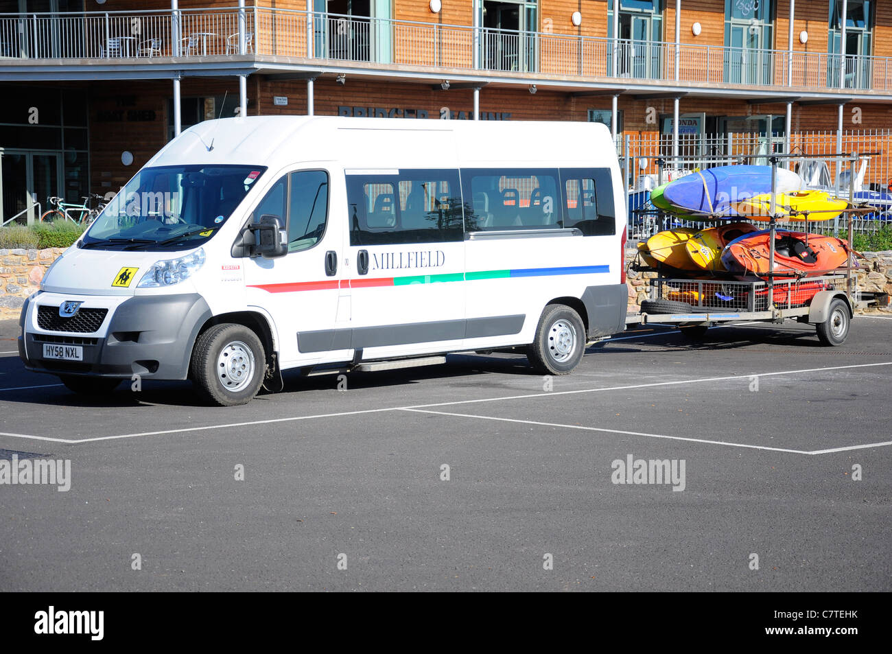 Millfield School minibus on an adventure education outdoor pursuits trip. - Stock Image