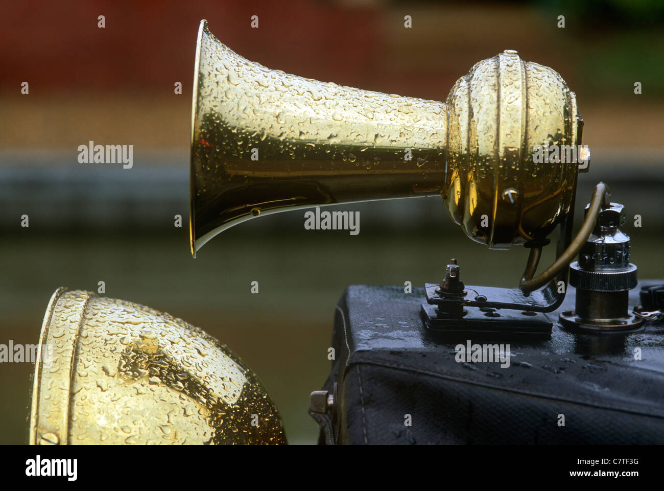 Brass klaxon on narrowboat. Grand Union Canal, Braunston. - Stock Image