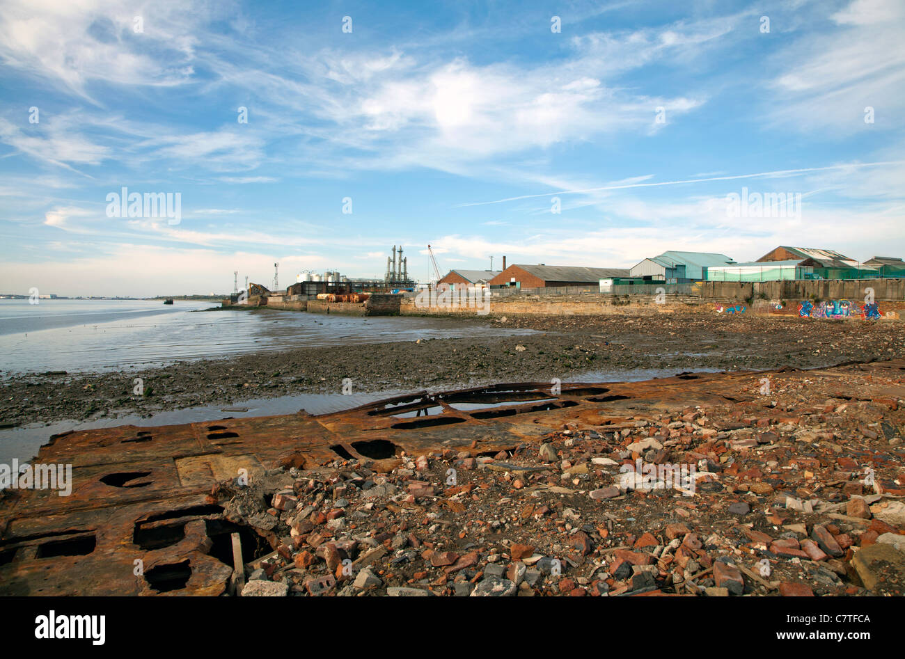 Garston Docks is a group of docks on the River Mersey at Garston, Liverpool, England. - Stock Image