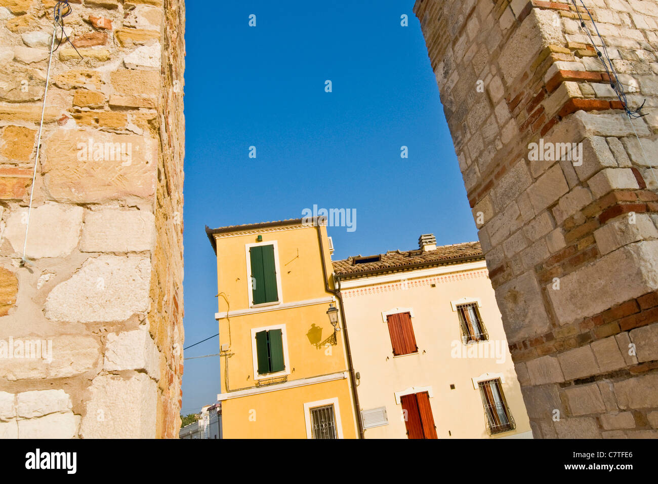 Italy, Marche, Numana, the twon center - Stock Image