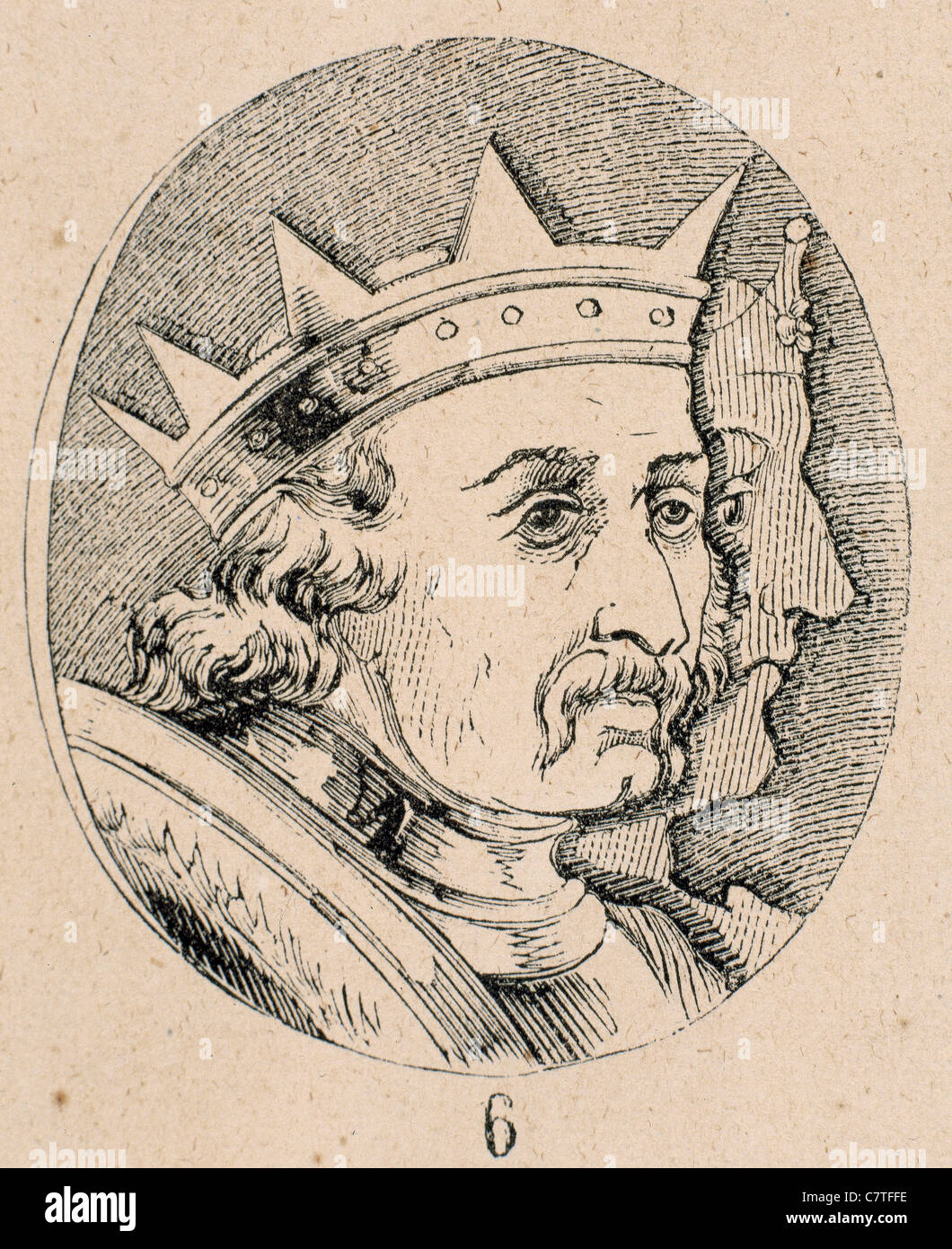 Alfonso I, the Battler (1073-1134). King of Aragon. Engraving. - Stock Image