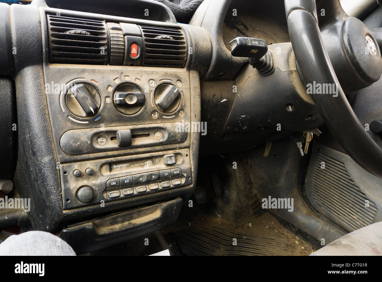 a very dirty car interior and dashboard stock photo 39262771 alamy. Black Bedroom Furniture Sets. Home Design Ideas