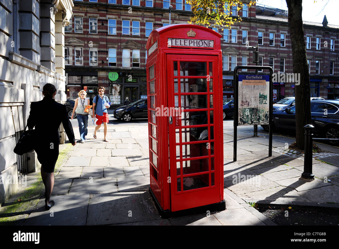 Traditional British red telephone box, St John's Street, Manchester, England. Picture by Paul Heyes, Wednesday - Stock Image