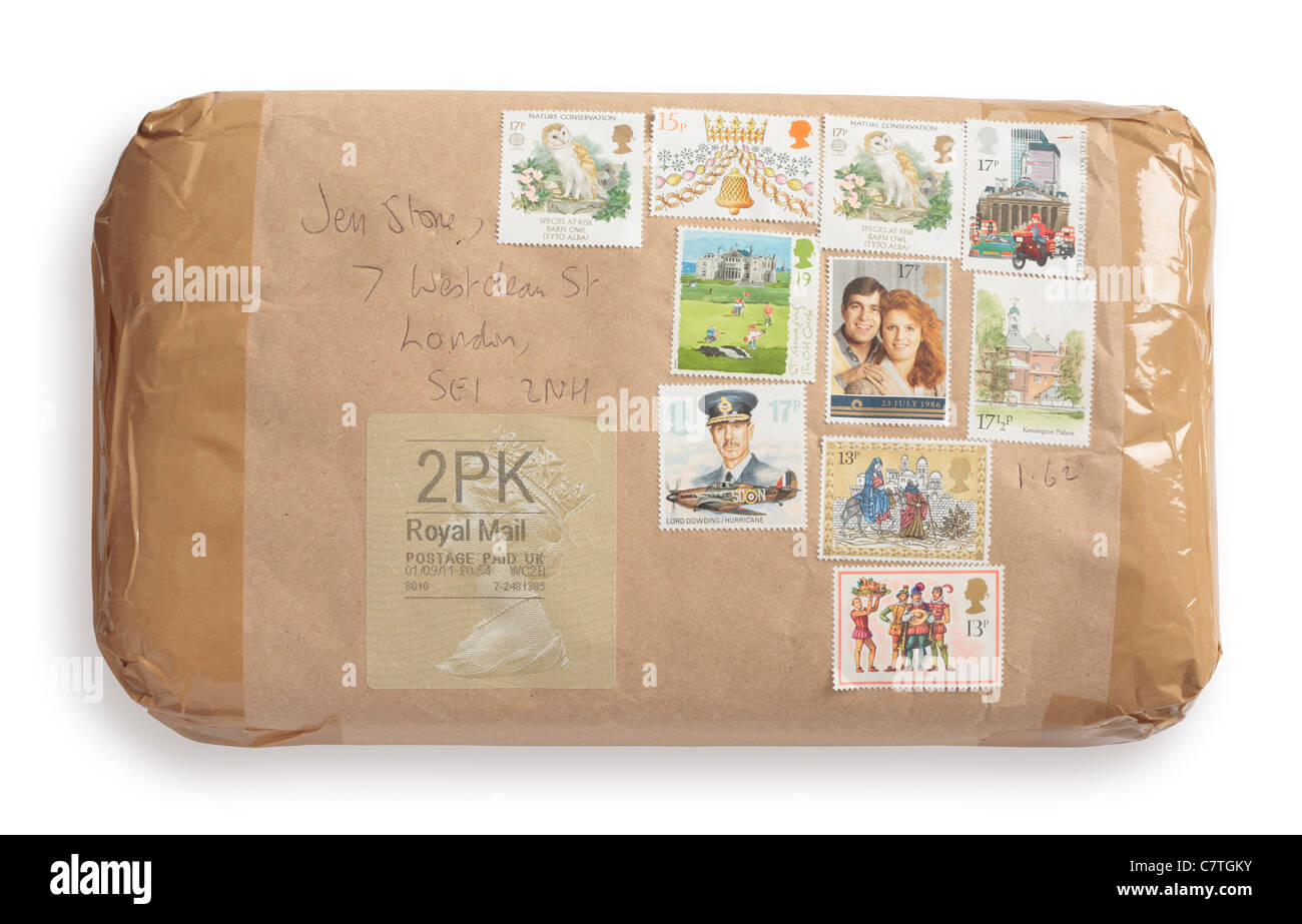 Parcel from Ebay seller with assorted postage stamps - Stock Image