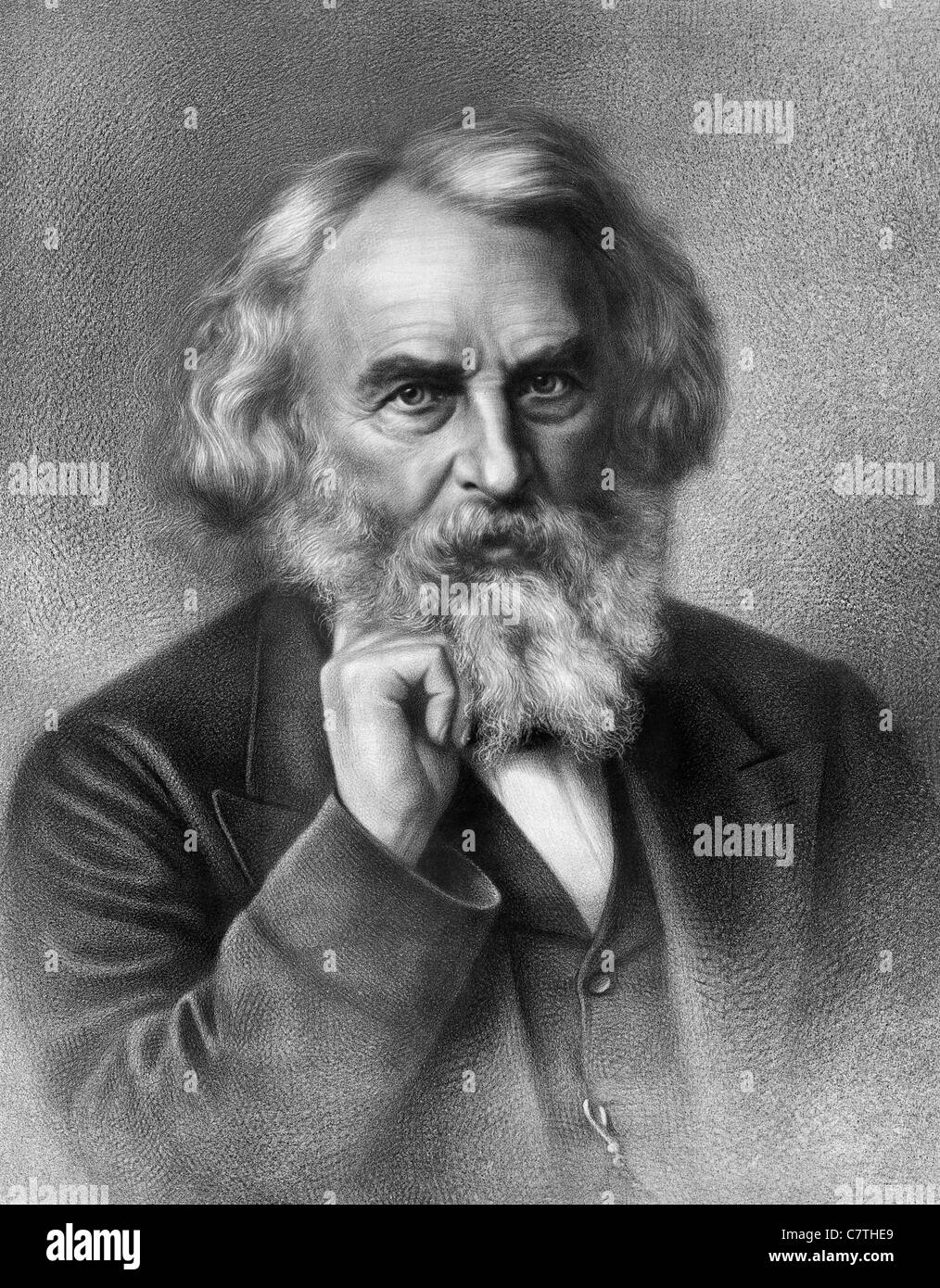 Vintage portrait print circa 1875 of American poet and educator Henry Wadsworth Longfellow (1807 - 1882). - Stock Image