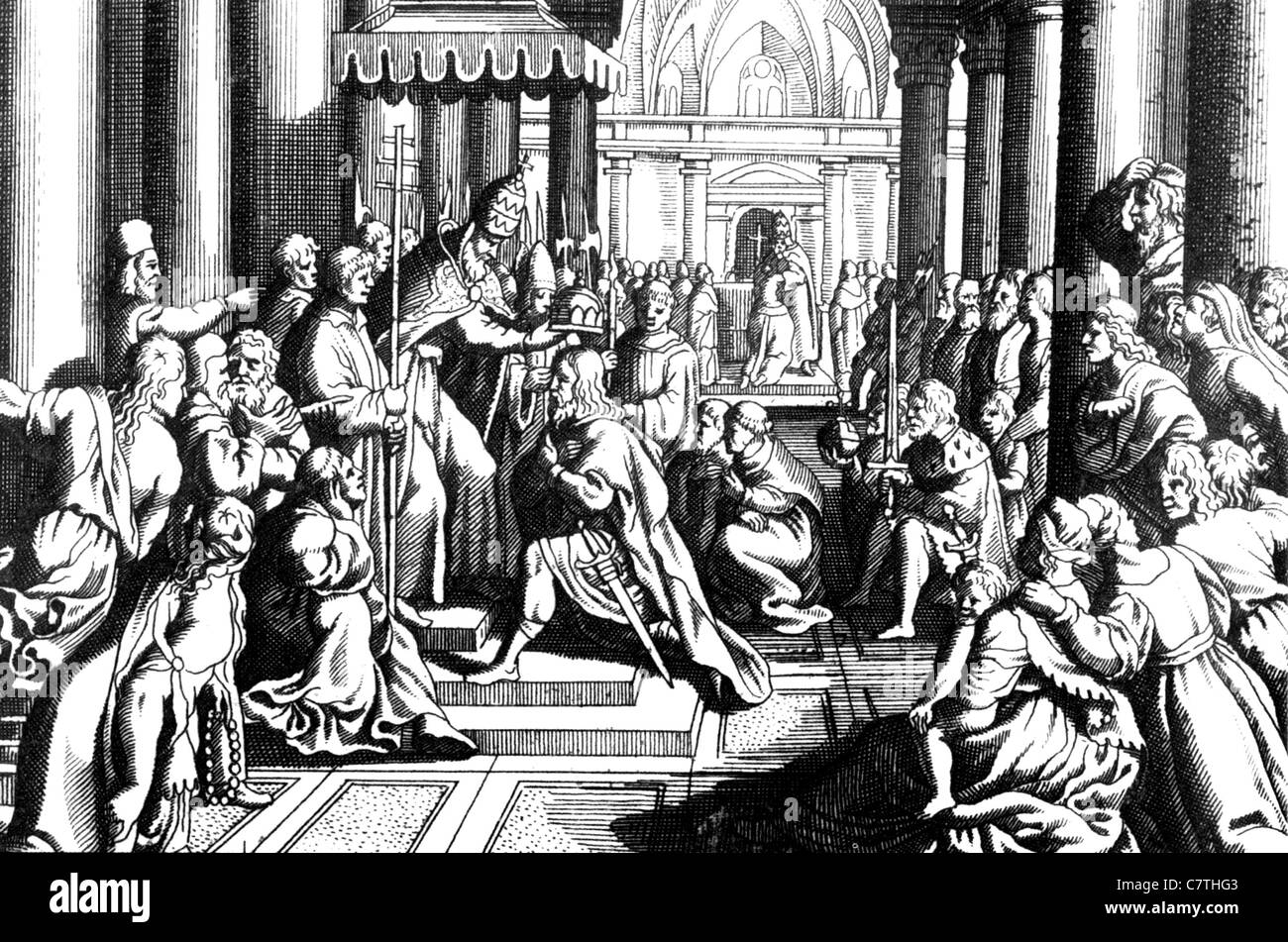 CORONATION OF CHARLEMAGNE at the Roman Council of 800 AD in an 18th century engraving - Stock Image
