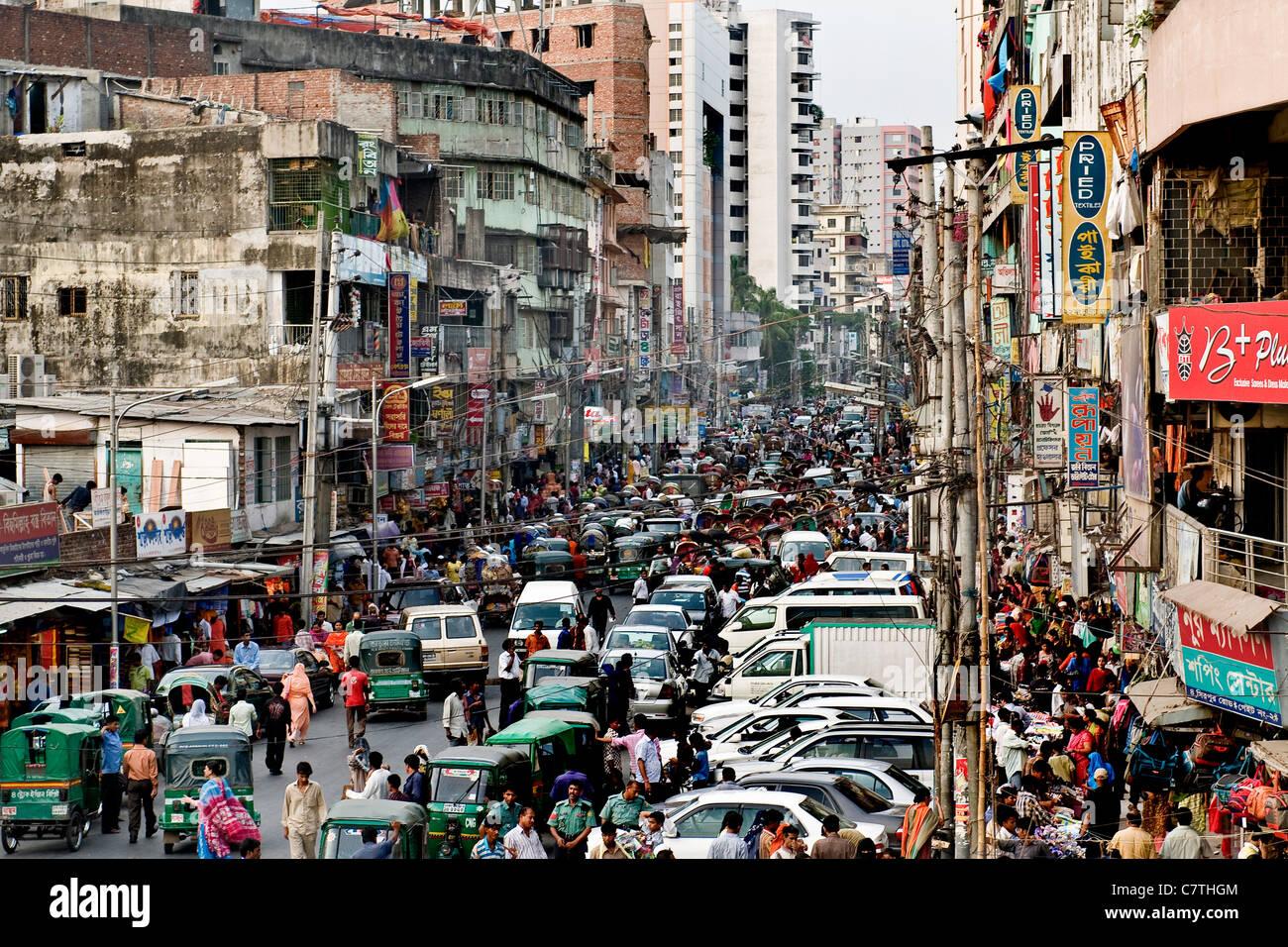 Bangladesh, Dhaka, rush hour traffic - Stock Image