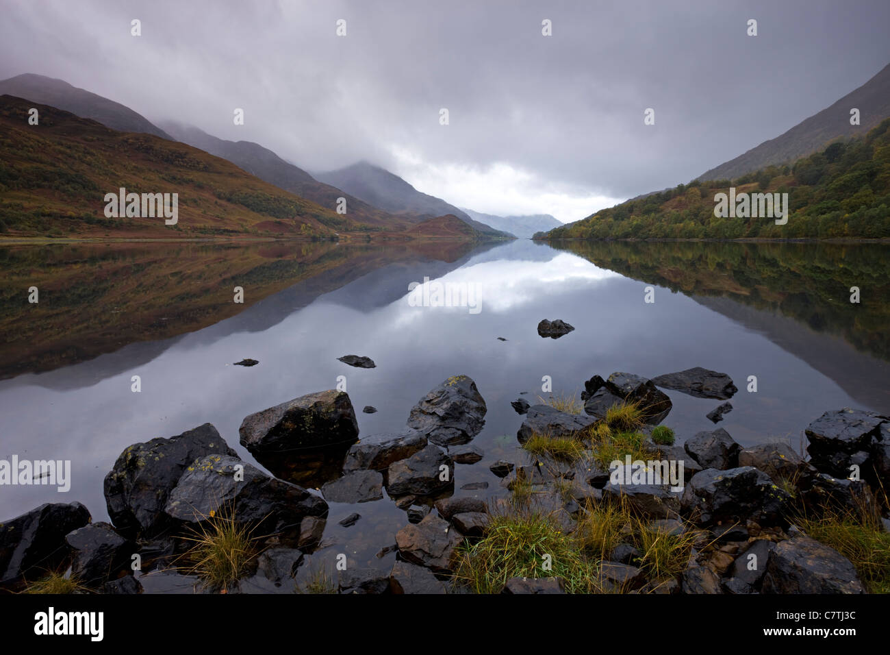 Loch Leven on a stormy day, Highlands, Scotland. Autumn (October) 2008 - Stock Image