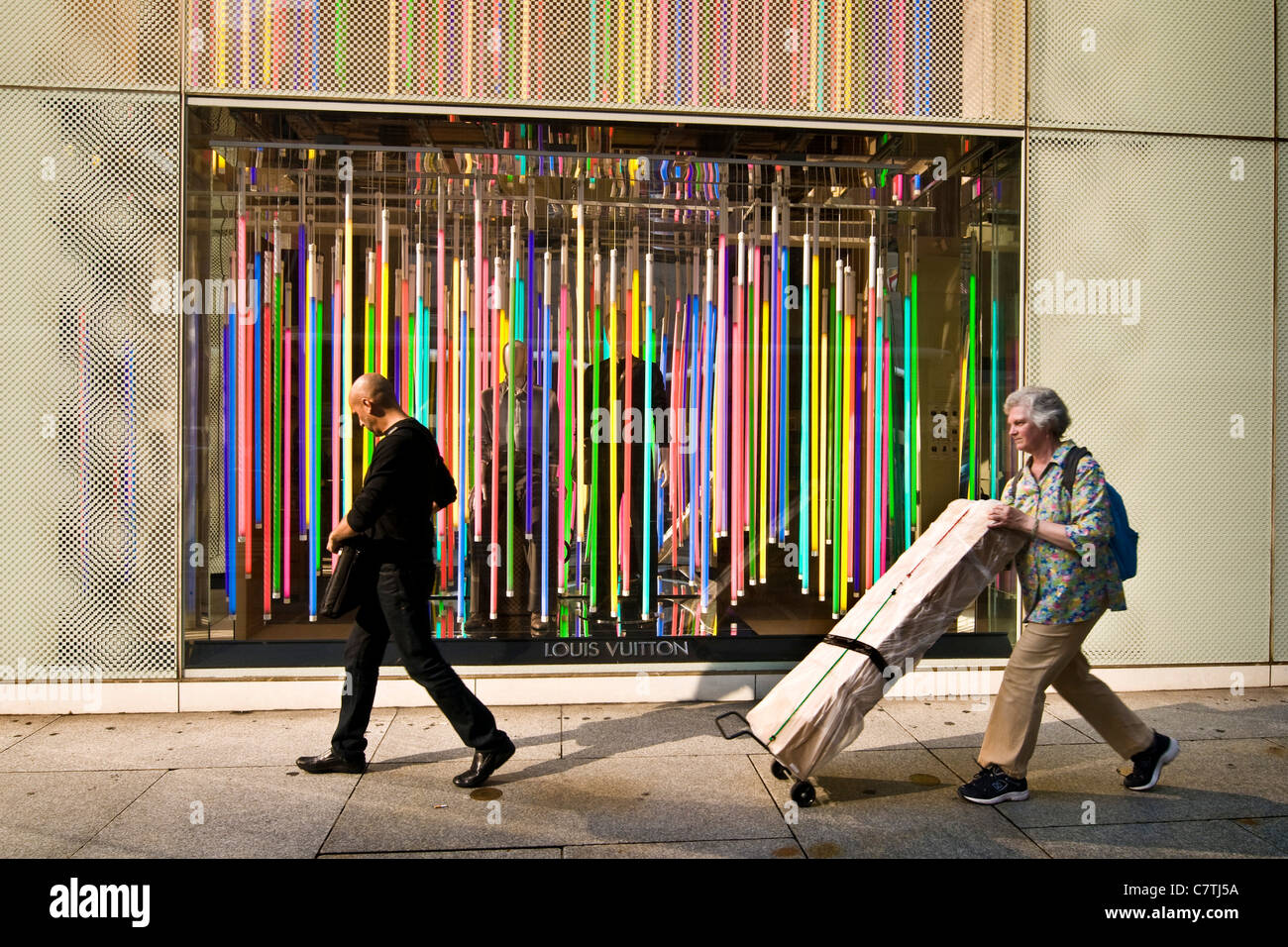 Usa, New York City, Louis Vitton fashion shop on Fifth Avenue - Stock Image