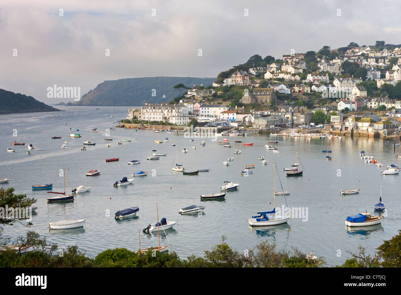 Salcombe and the Kingsbridge Estuary from Snapes Point, South Hams, Devon, England. Autumn (September) 2010. - Stock Image