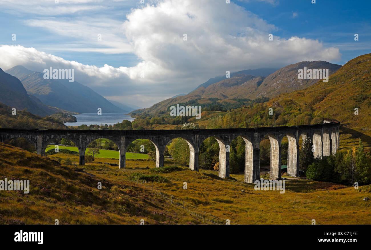 Glenfinnan Viaduct in autumn with Loch Shiel in background, Lochaber, Scotland, UK, Europe Stock Photo