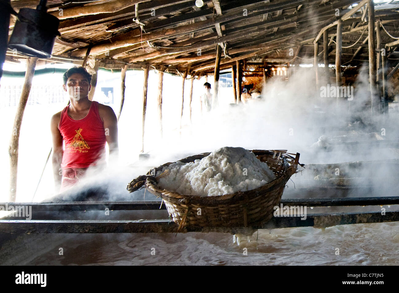 Bangladesh, workers in salt plant Stock Photo