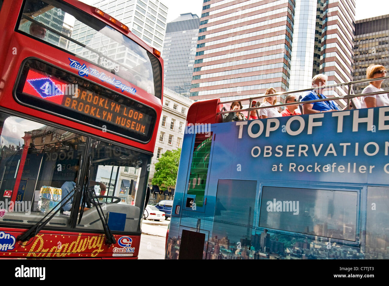 New York City sightseeing bus - Stock Image