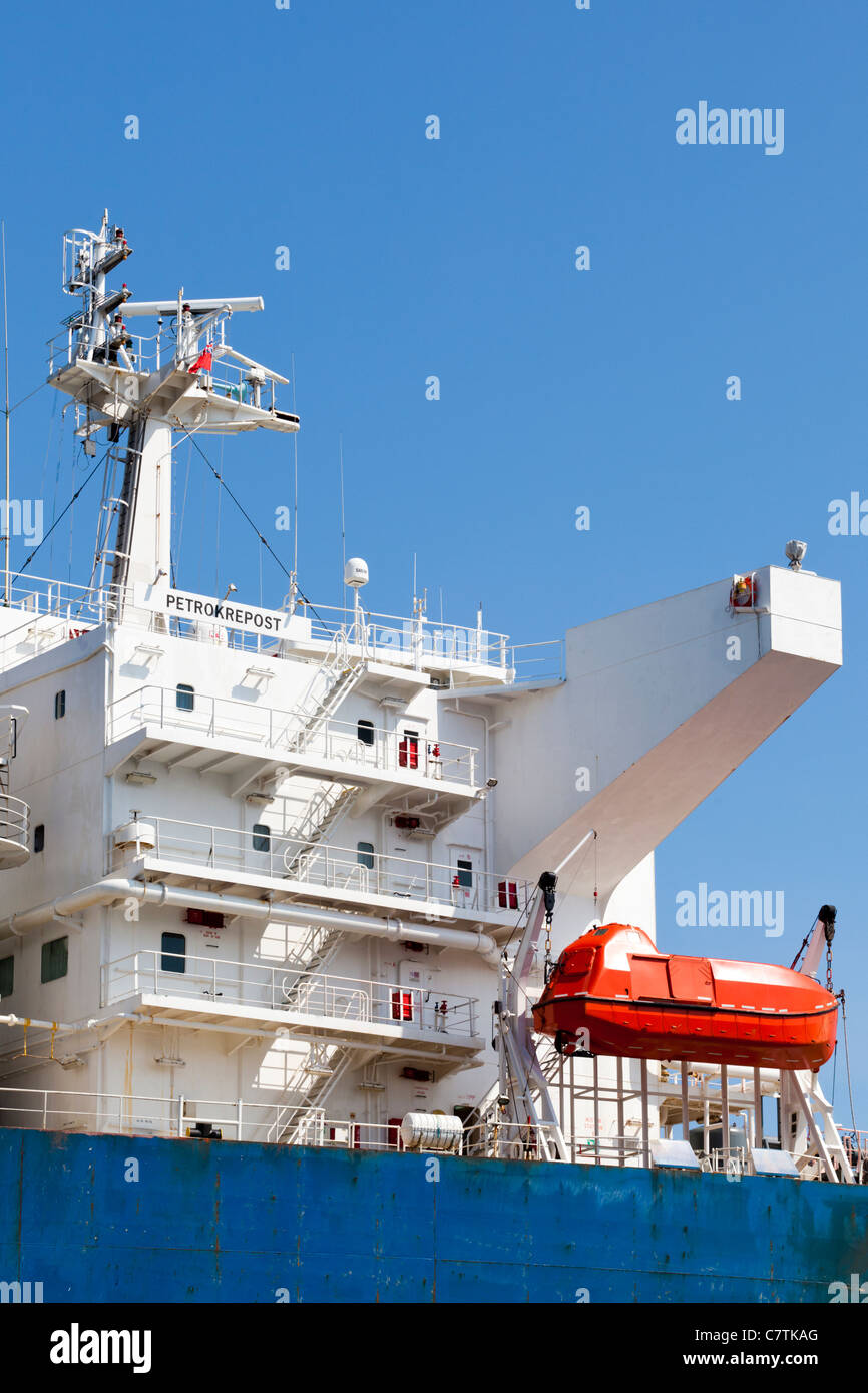 Detail of the Liberian registered tanker Petrokrepost in Falmouth Bay, Cornwall - Stock Image