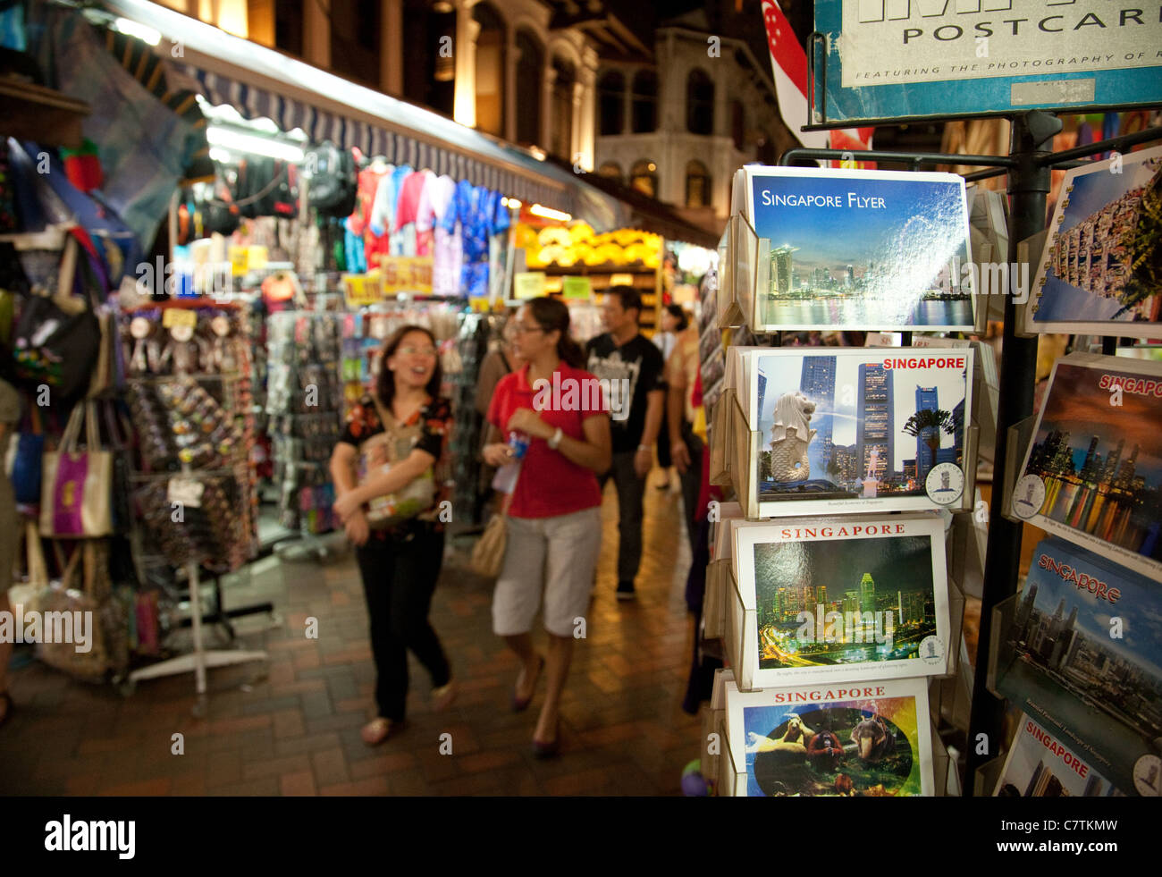 Singapore postcards on sale in Chinatown, Singapore Asia - Stock Image
