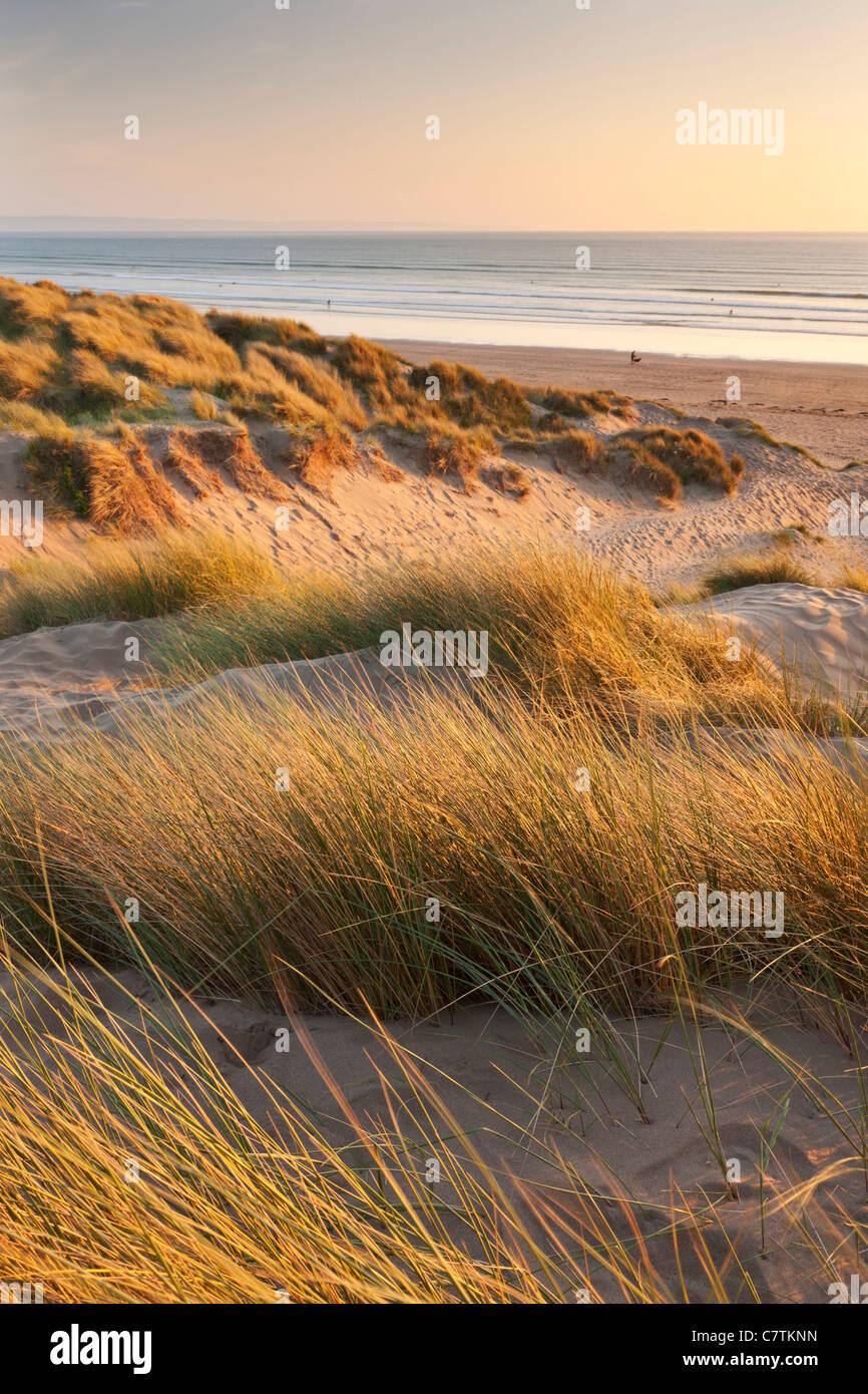 Saunton Sands from Braunton Burrows on a summer evening, Devon, England. Summer (June) 2011. Stock Photo