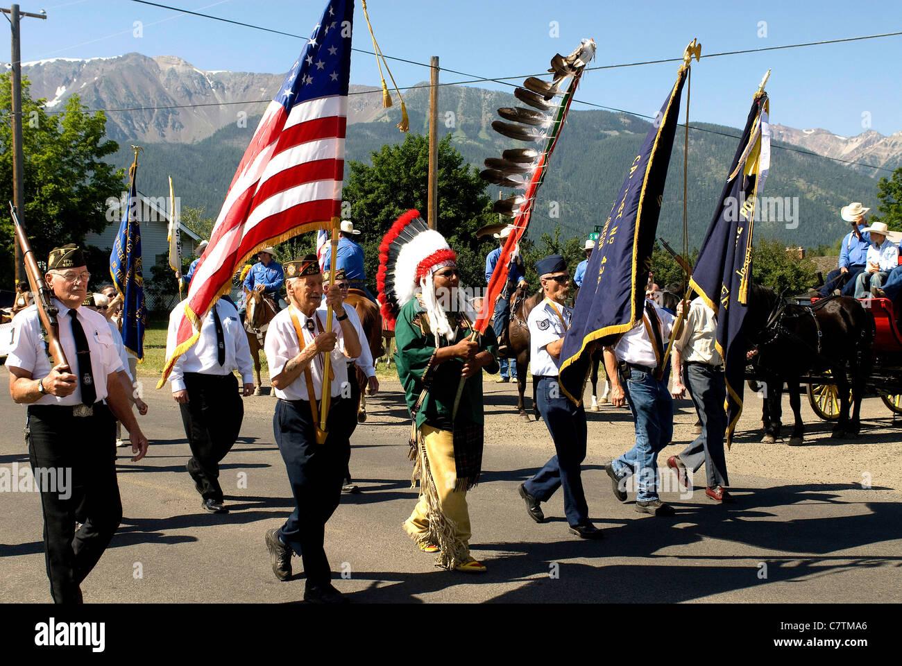 Parade through Main Street of Joseph, Eastern Oregon, during Chief Joseph Days celebrations of historic Indian Nez - Stock Image