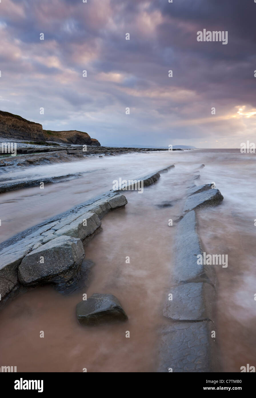 Stormy evening on Kilve Beach, Somerset, England. Summer (June) 2011. - Stock Image