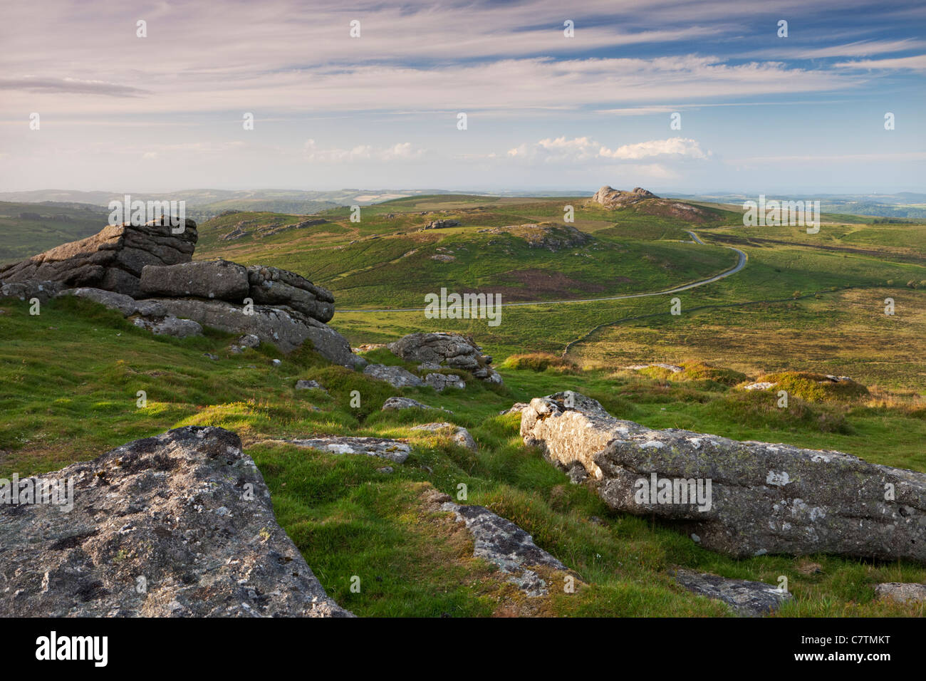 View towards Haytor and Saddle Tor from Rippon Tor, Dartmoor, Devon, England. Summer (July) 2011. - Stock Image