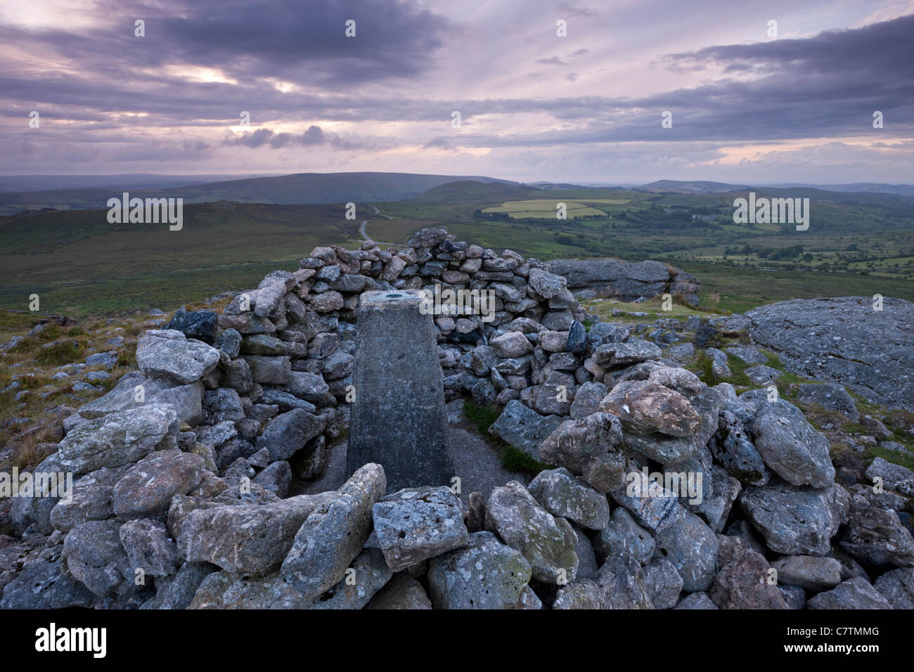 Trig point on the summit of Rippon Tor, Dartmoor National Park, Devon, England. Summer (July) 2011. - Stock Image