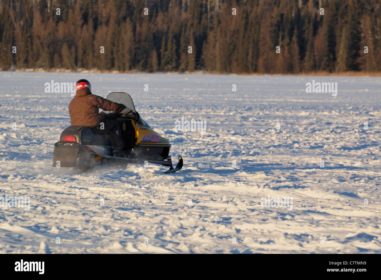 A snowmobiler travels across a frozen lake n Saskatchewan, Canada. - Stock Image