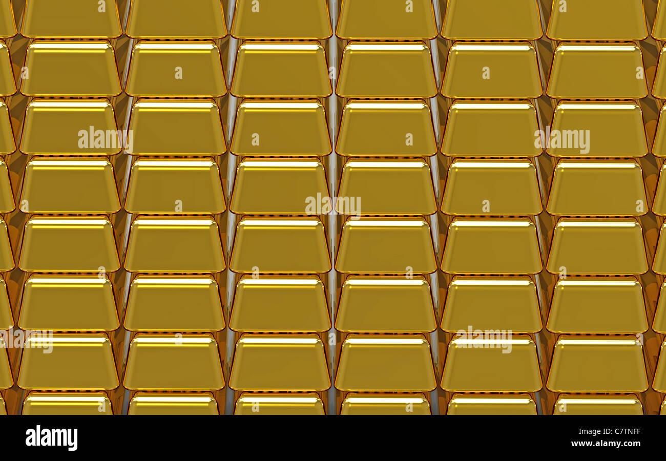 Array of gold bullion 3d render money concept - Stock Image