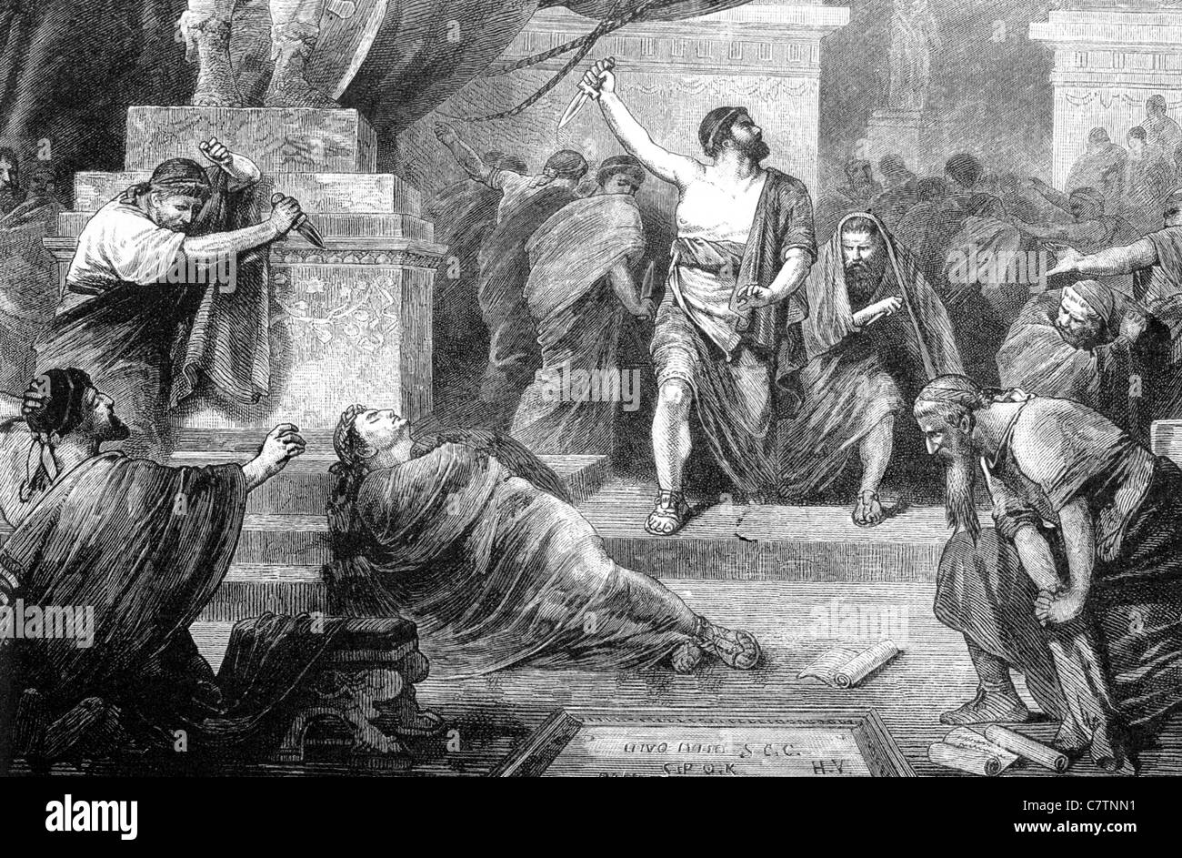ASSASSINATION OF JULIUS CAESAR  44BC in a 19th century engraving - Stock Image