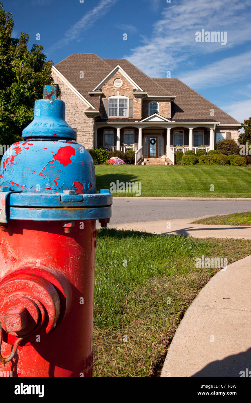 Fire hydrant in a housing subdivision near Nashville Tennessee USA - Stock Image