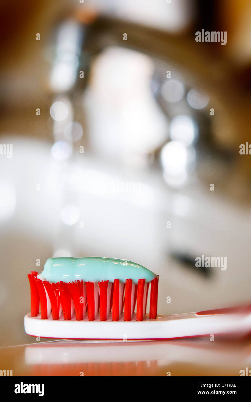 Toothbrush and toothpaste - Stock Image