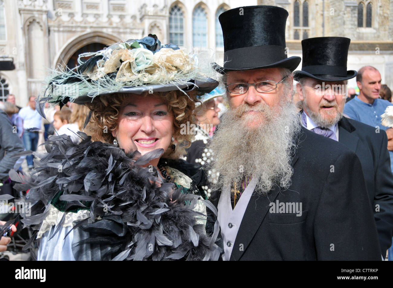 People dressed in Victorian costume Pearly Kings and Queens Guildhall Harvest Festival 2011 - Stock Image
