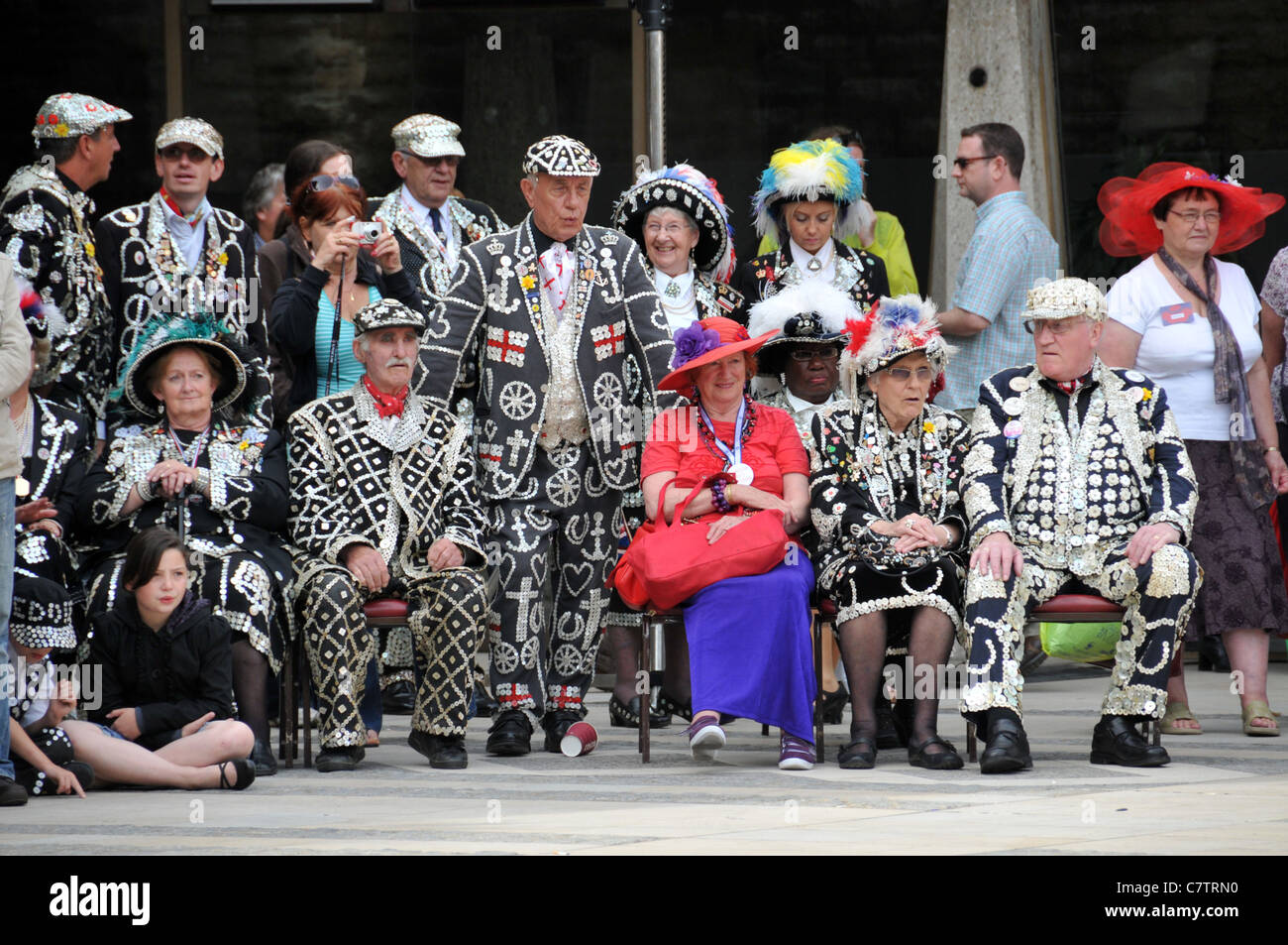 Pearly Kings and Queens Guildhall Harvest Festival 2011 - Stock Image