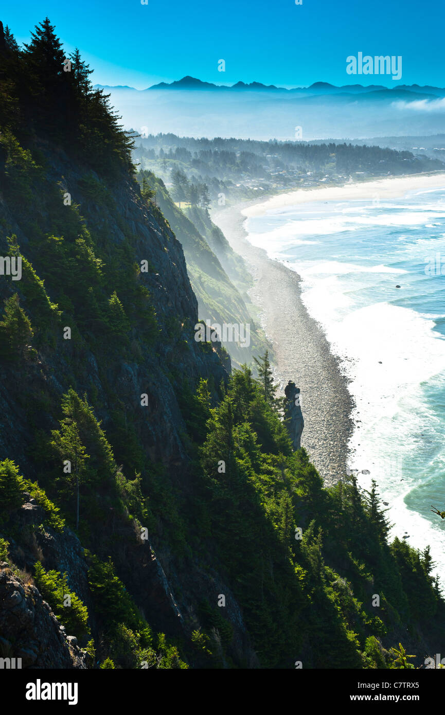 A great view off the Pacific Highway 101 south of Tillamook, Oregon. Stock Photo